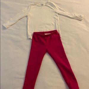 Gymboree White Long sleeved Fleece Lined Leggings